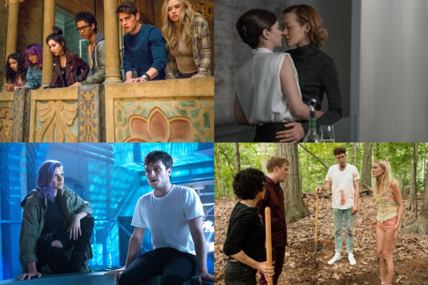 Clockwise from top left: Marvel's Runaways, Girlfriend Experience, Search Party, Future Man