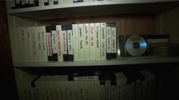 Still of Josef's closet filled with videotapes of former vicitims