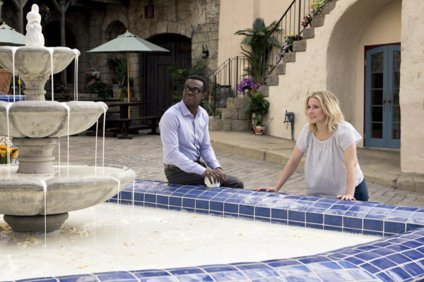 Still of Kristen Bell and William Jackson Harper in The Good Place episode 2x03