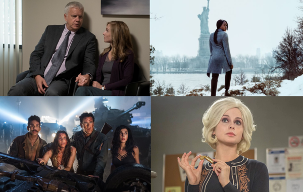 Stills from Here and Now, Seven Seconds, iZombie and Ash vs Evil Dead (Clockwise)