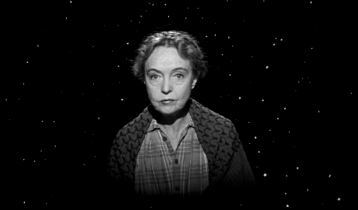 Lillian Gish as Rachel, delivering exposition from the sky