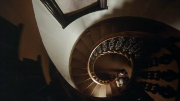 A tight spiral staircase, shot from over head
