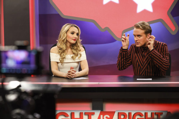 Two blondes - a man and a woman - sit behind a news desk for a show called Right is Right